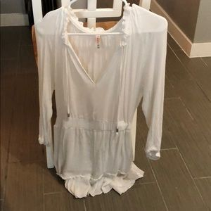 White sinched waste dress